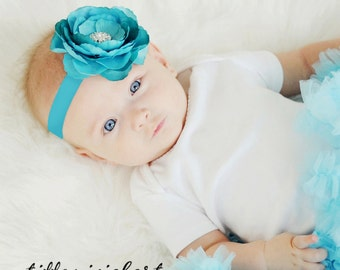 Turquoise Baby Headband..Teal Baby Flower Headband..Newborn Headband..Turquoise Headband with Rhinestones..Flower Headband..Blue Headband