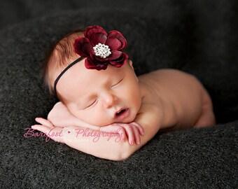 Baby Headband..Valentines Day..Baby Girl Burgundy Headband..Burgundy Red Headband..Cranberry Flower..Rhinestone Baby Headband..Photo Prop
