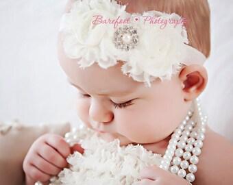 Baby Girl Ivory Headband..Pearls..Rhinestones..Ivory Christening Headband..Pearls..Ivory Baptism Headband..Baby Girl Ivory Flower Headband
