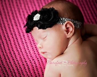 Black and Zebra Print Headband..Toddler Zebra Print Headband..Animal Print..Baby headband..Black Chiffon Flower Headband