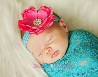 Baby Headbands..Baby Flower Headbands..Baby Hot Pink and Turquoise Teal Flower Headband..Hot Pink and Turquoise Aqua Headband
