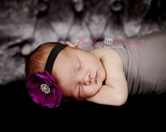 Baby Headband..Baby flower Headband..Purple Baby Girl Flower Headband with Rhinestones..Infant Purple and Black Flower headband