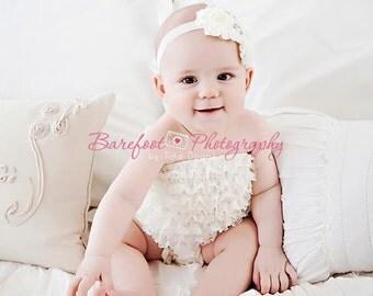 Baby Headband..Baby Girl Headband..Baby Girl Christening Baptism Headband..White Flower Headband..White Chiffon Flower Headband..Rhinestones