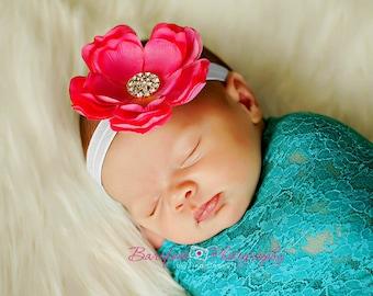Baby Headband..Infant Headband..Baby Girl  Flower Headband..Hot Pink Flower Headband with Rhinestones..Newborn Headband