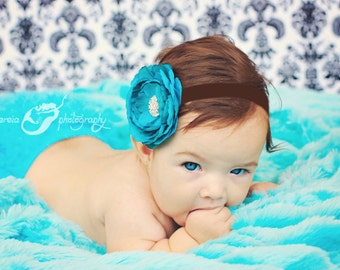 Baby Headband..Baby Flower Headband..Baby Girl Flower Headband..Brown and Turquoise Flower Headband With Rhinestones
