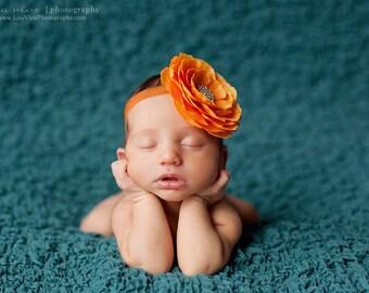 Baby Girl Orange Flower Headband..Rhinestones..Orange Flower Headband..Infant Orange Flower Headband..Toddler Headband..Newborn Headband