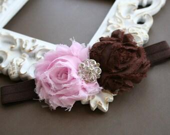 Baby Headbands..Baby Flower Headband..Baby Light Pink and Brown Headband..Chiffon Fabric Light Pink and Brown Flower Headband..Rhinestone