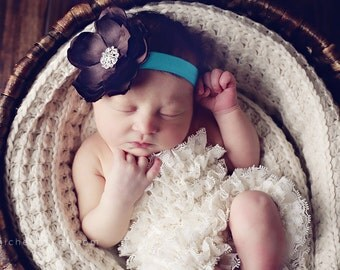 Baby Headband..Baby Flower Headband..Baby Girl Flower Headband..Brown and Turquoise Flower Headband With Rhinestones..Photo Prop