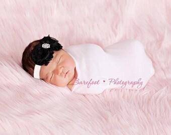Baby Headband..Baby Girl Headband..Black and White Flower Headband..Black and White Headband for Girls..All Sizes