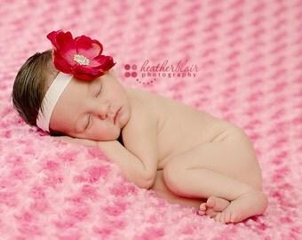 Baby Headband..Baby Flower Headband..Newborn Hot Pink Flower Headband..Baby Girl Pink Flower Headband..Hot Pink Flower Headband..Rhinestones