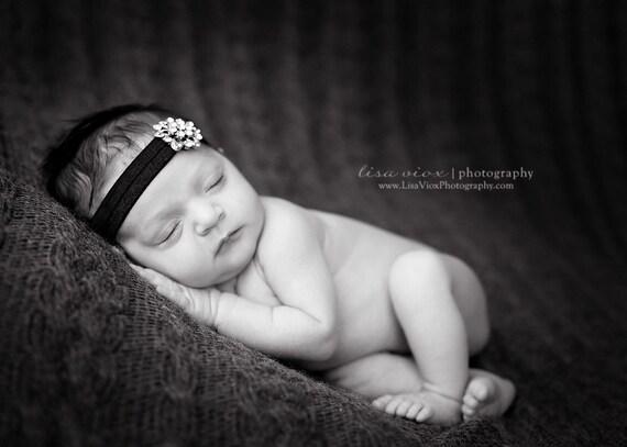 BEJEWELED Headband..Black Baby Headband..Newborn Baby Girl Photo Prop..Baby Girl Rhinestone Headband..Infant Headband..Photoprop
