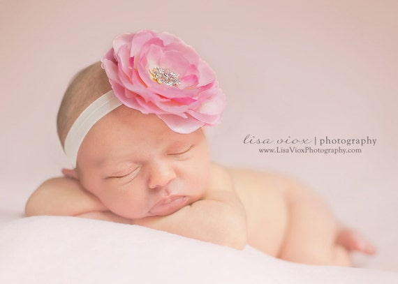 Baby Pink Flower Headband..Baby Girl Pink Flower Headband..Pink Flower Headband..Pink and White Baby Headband..Rhinestones..Toddler