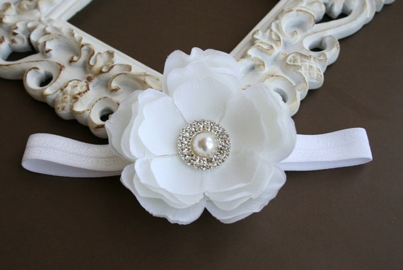 Baby Headband..Baby Girl Headband..Baby Girl Christening or Baptism Headband..Diamond White Flower Headband with Pearls and Rhinestones