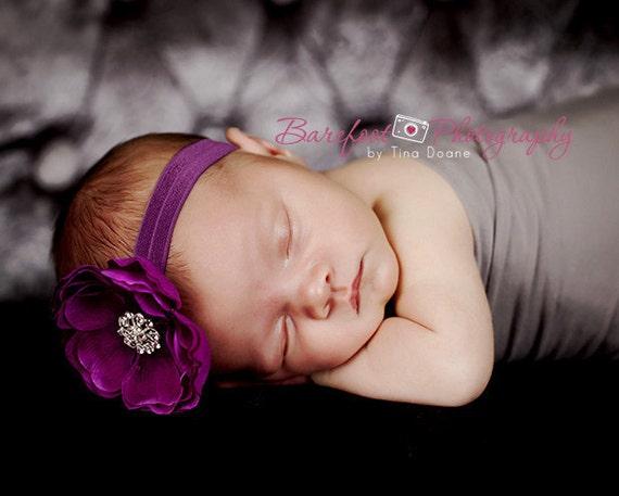 Baby Headband..Baby flower Headband..Purple Baby Girl Flower Headband with Rhinestones..Infant through Toddler Purple Flower Headband