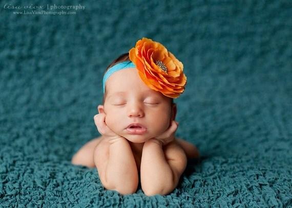 Baby flower headband..Baby girl Headband..Orange and Turquoise Headband..Baby girl Flower Headband..Orange Flower on Turquoise Headband