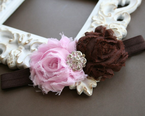 Baby Headbands..Baby Flower Headband..Baby Light Pink and Brown Headband..Chiffon Fabric Light Pink and Brown Flower Headband..Rhinestone