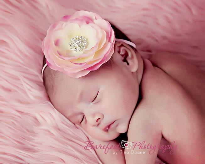 Headbands turbans baby flower headbandswborn baby pink flower headband mightylinksfo