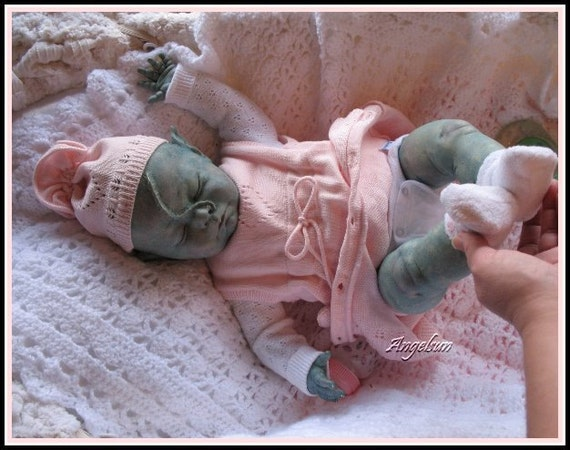 Reserved for Annette through 1/24/14 Scary Mary Reborn Aquatic Extraterrestial Out of the Ordinary Reborn Doll