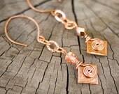 Solid Copper Dangle Earrings