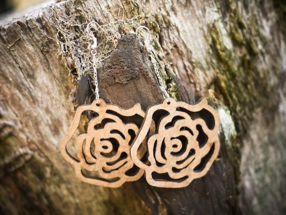 Carved Wood Rose Design Earrings