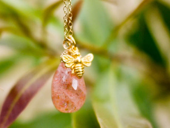 The Honey Bee.. Wrapped Sunstone Pendant in Gold Filled