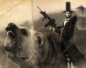 Abe Lincoln Riding a Grizzly Old Photo *various sizes available*