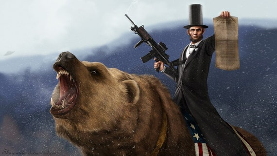Abe Lincoln Riding a Grizzly HQ 11x17 Print