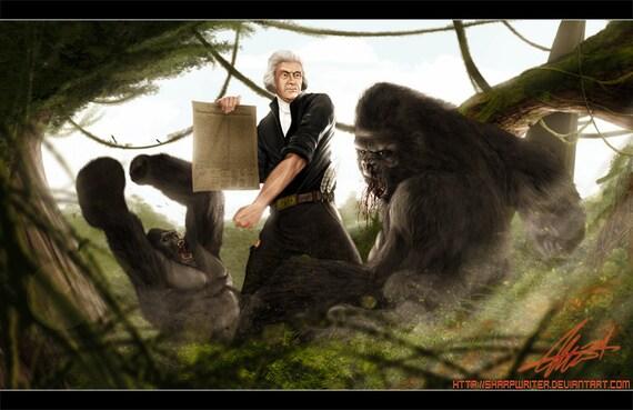 Thomas Jefferson Battling a Gorilla Limited Print