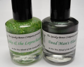 Are You Afraid of the Dark Nail Polish Lacquer Glow in the Dark Jake and the Leprechaun and Dead Mans Float St Patrick's Day