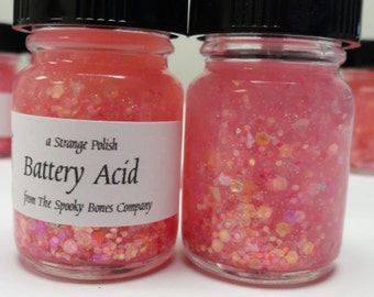 "Battery Acid ""batteries not included"" Nail Polish Lacquer Pink Red Matte Glitter"