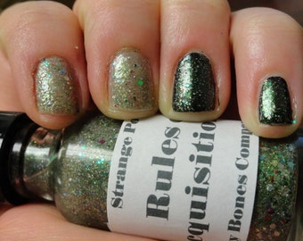LAST ONE!  Rules of Acquisition Star Trek Vol 2 Nail Polish Lacquer Glow in the Dark Green Glitter