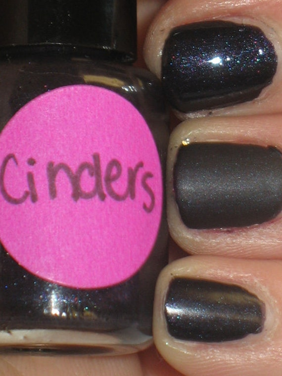 Old School Cinders Nail Polish Matte Blackened Purple and Blue Lacquer