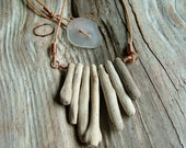 Driftwood Necklace with Sea Glass Button