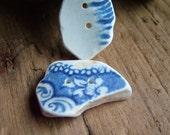 2 Beach Sea Pottery Buttons