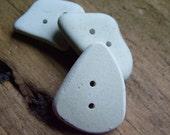 Beach Sea Pottery Buttons x 3