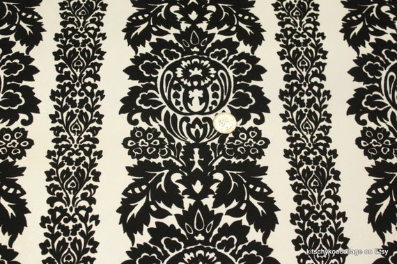 1970's Black  Flocked Vintage Wallpaper Damask Stripe