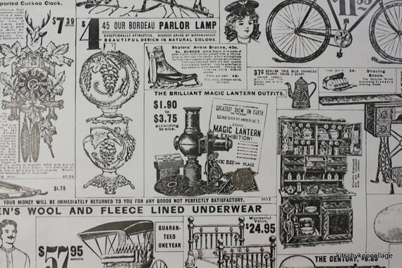 1970's Vintage Wallpaper Antique Newspaper Advertisements