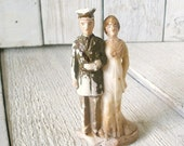 Wedding cake topper vintage bride soldier
