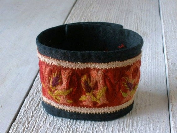 Cuff bracelet antique Victorian embroidered