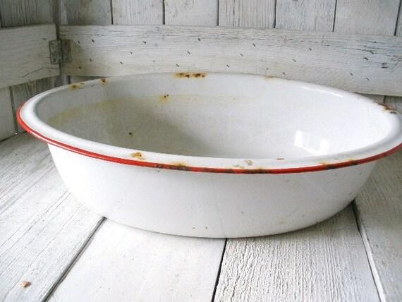Vintage white enamel tin pan white metal Cottage Chic Farmhouse