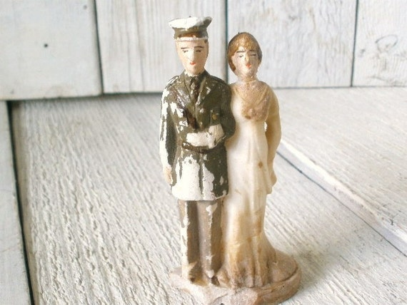 Wedding cake topper vintage bride soldier