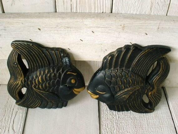 Vintage fish wall decor black gold