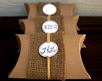 Burlap Pillow Boxes -20 Wedding Favor Boxes -Rustic Wedding Favor Boxes -Favor Boxes -Gift Boxes (ITEM: TPG20)