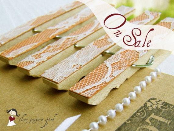 Lace Clothespins -Tangerine -DIY Wedding Accessory -Shabby Chic Wedding -Woodland Wedding -Country Wedding
