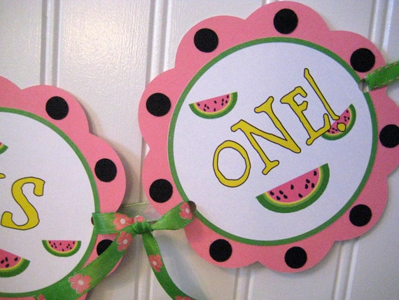 Baby's First Birthday Banner for Highchair (3 links) and Door Sign- Watermelons