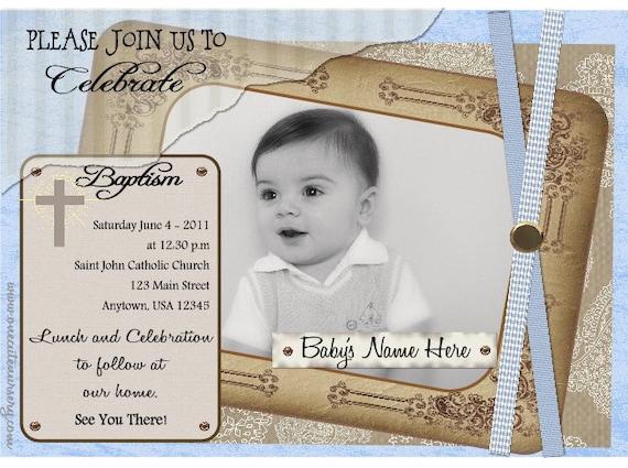 Baptism - Christening Invitation - Antique Gold -  Baby  Blue or Pink - Baby Girl - Baby Boy - DIY