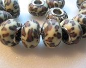 15 Cheetah design polymer clay beads with iron core