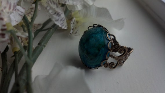 Bohemian Summer- Bronze and Turquoise Glass Cabochon Adjustable Ring