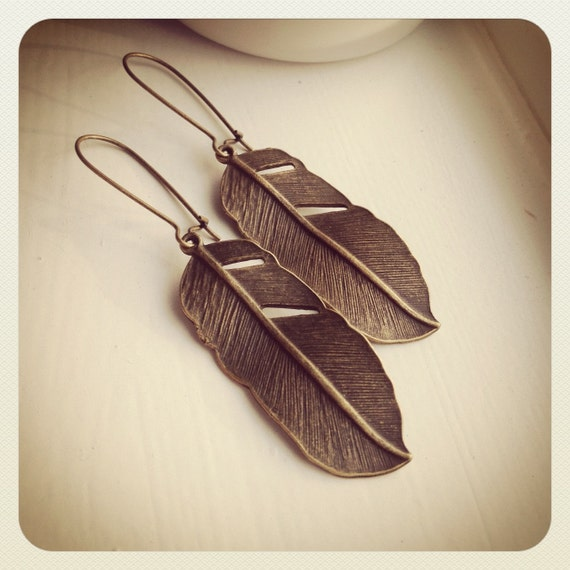 Ancestor Feather-Bronze Feather Earrings, TRIBAL, native dangle