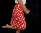 Red and white polka dot high waisted skirt, high waisted custom size